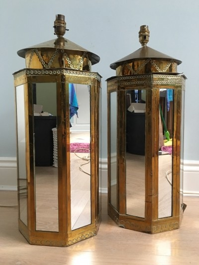 Pair of Rodolfo Dubarry brass overlaid mirrored table lamps