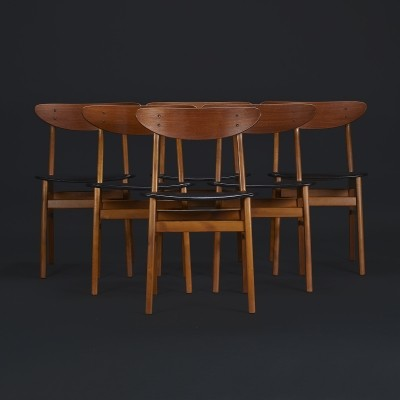 Set of six Danish teak 'model 210' dining chairs by Farstrup, 1960s