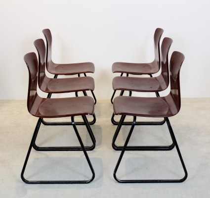 Brown Stackable 'S22' Pagholz Galvanitas Industrial Dining Chairs