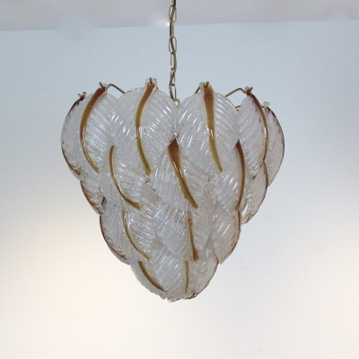 Murano Glass Leaves Chandelier by A.V. Mazzega, Italy 1970s