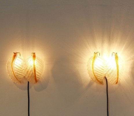 Set of Murano Glass Leaves Wall Lights by A.V. Mazzega, Italy 1970s