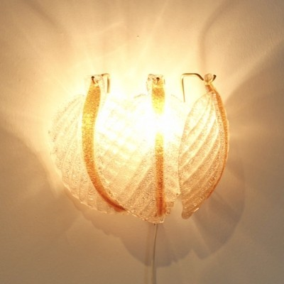 Murano Glass Leaves Wall Light by A.V. Mazzega, Italy 1970s
