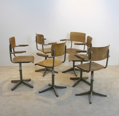 Industrial Tubax Plywood Desk Chairs, 1960s