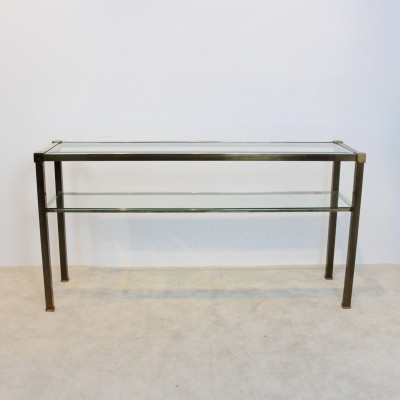 French Two-Tiered Console with Patinated Brass & Facet Glass Top