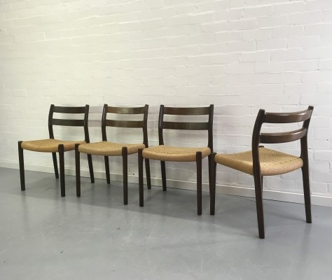 Set of 4 Model 84 dinner chairs by Niels Otto Møller for J L Møller, 1960s