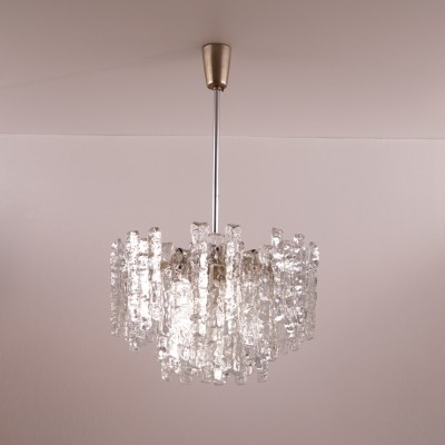 Kalmar Ice Glass Chandelier with Three Layers, Austria 1960s