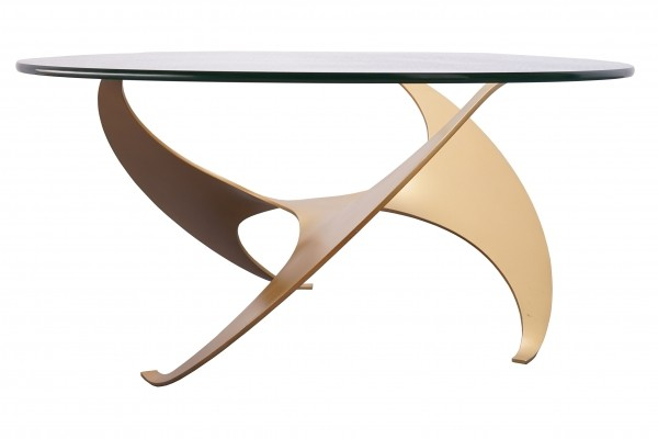 Lacquered Aluminium & Glass XL Propeller Coffee Table by Knut Hesterberg
