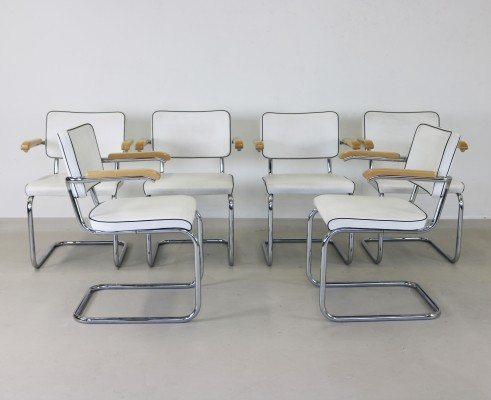 6 x S64 dinner chair by Mart Stam for Thonet, 1990s
