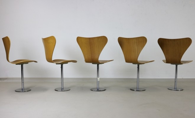 Set of 5 Series 7 dining chairs by Arne Jacobsen for Fritz Hansen, 1970s