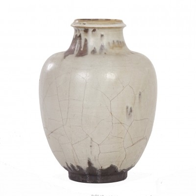 Large Hand-Made Ceramic Mobach Vase with White, Brown & Black Glaze, 1930s