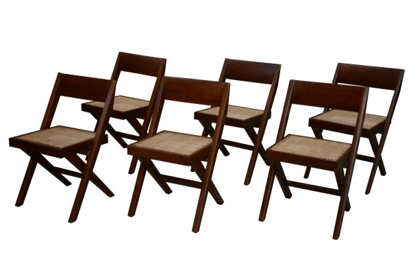 Set of 6 Library Chairs by Pierre Jeanneret