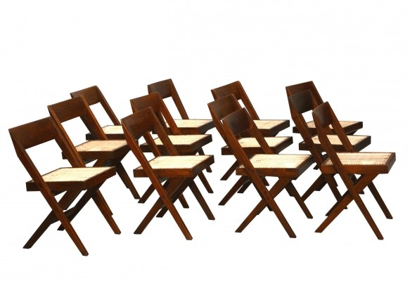 Set of Twelve Library Chairs by Pierre Jeanneret