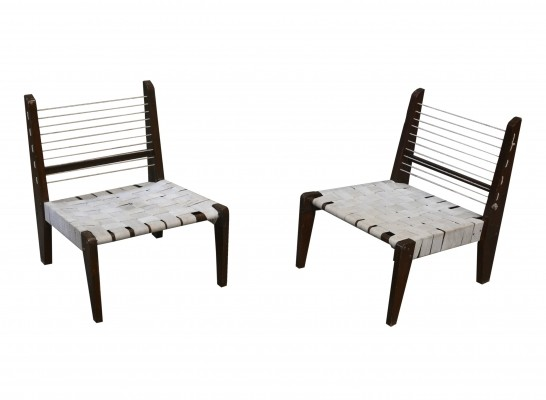 Very Rare Pair of Demountable Armless Chairs by Pierre Jeanneret