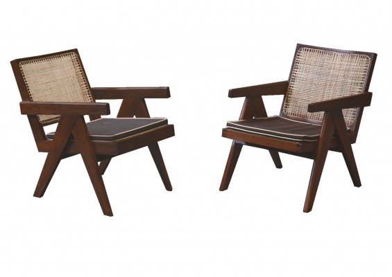 Pair of Easy Armchairs by Pierre Jeanneret