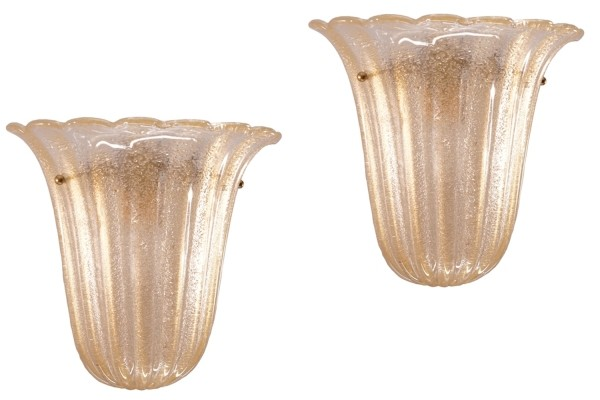 Set of 2 Barovier e Toso Murano Glass Wall Sconces