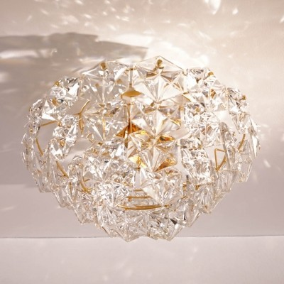 Gilt Flush Mount with Hexagonal Crystals by Kinkeldey