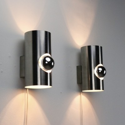 Pair of Dutch design wall lamps, 1970s