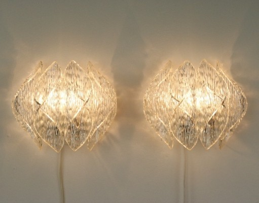 Pair of lucite wall lamps, 1960s
