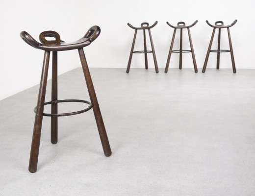 First edition 'Marbella' Brutalist Spanish bar stools, 1950s