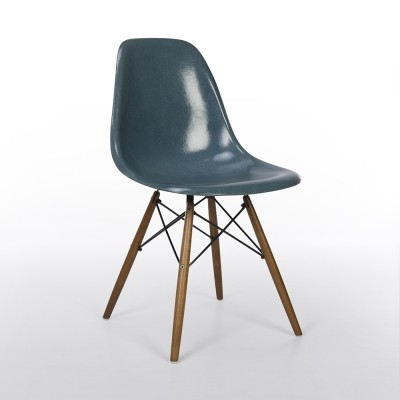 Original Herman Miller Aquamarine Eames DSW Dining Side Chair