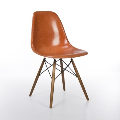 Original Herman Miller Dark Orange Eames DSW Dining Side Chair