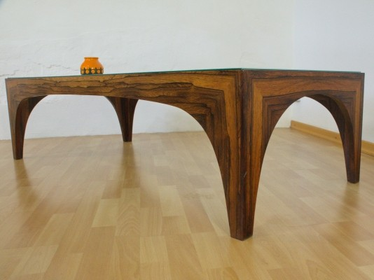 German Rosewood coffeetable with etched glass, 1960s