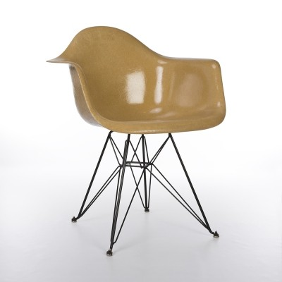 All Original Herman Miller Dark Ochre Eames DAR Dining Arm Shell Chair