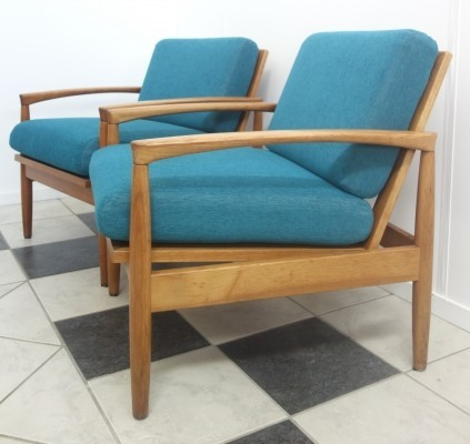 Pair of Turquoise blue easy chairs, 1960s