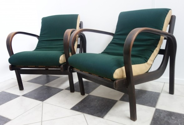 Pair of lounge chairs by A. Kropacek & K. Kozelka for Interier Praha, 1950s