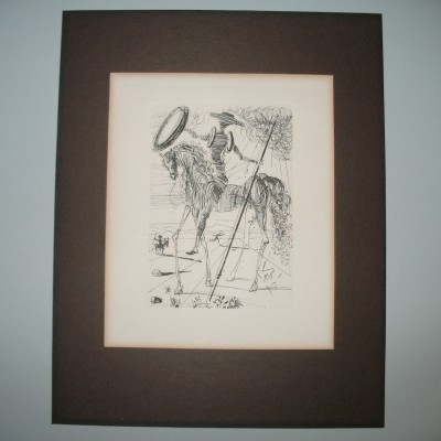 Signed Don Quichotte Etching by Salvador Dali