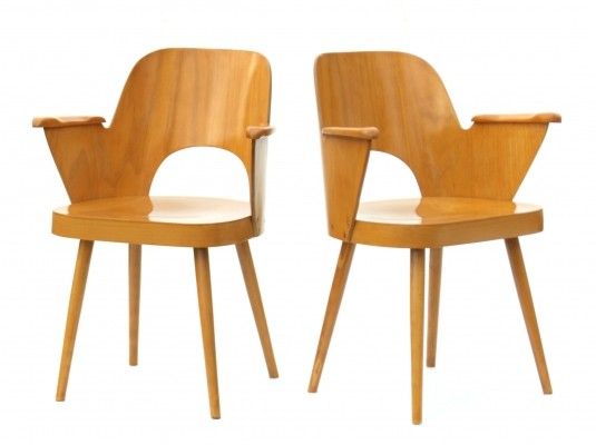 2 x Model 1515 dining chair by Ton Czechoslovakia, 1960s