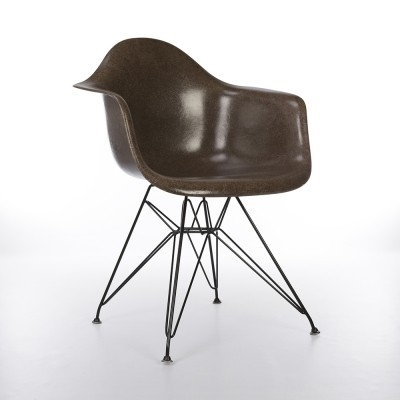 Original Herman Miller Seal Brown Eames DAR Dining Arm Shell Chair