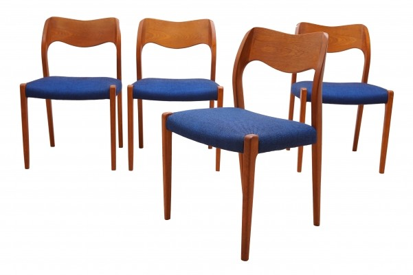 Set of Four Teak Dining Chairs no.71 by Niels Møller