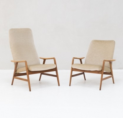 Easy chairs in beech & velvet by Folke Ohlsson for DUX & Artifort, Sweden