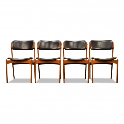 Set of 4 Model 49 dining chairs by Erik Buck for O. D. Møbler, 1960s