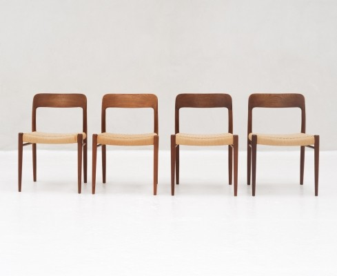 Set of 4 'Model 75' Dining chairs in teak & papercord by Niels Otto Moller for J.L Moller, 1950s