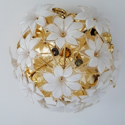 Gold plated ceiling light with Murano glass flowers, 1980s