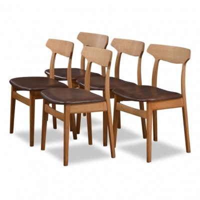 Set of 5 Danish design oak/leather Henning Kjaernulf dining chairs