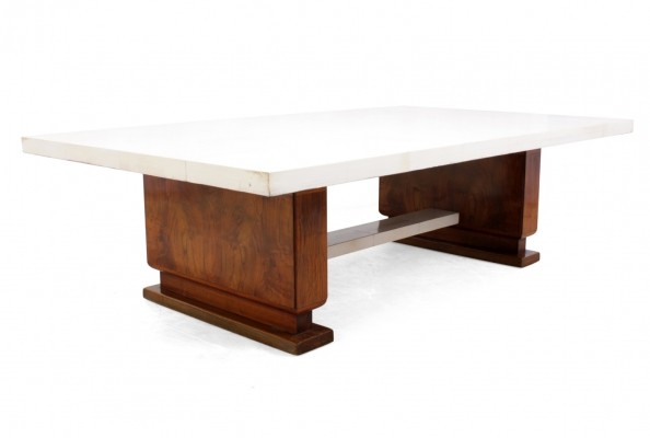 Art Deco Walnut & Parchment Coffee Table
