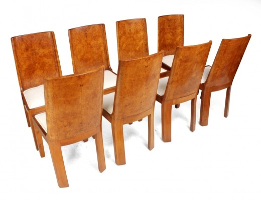 Set of 8 Art Deco Dining Chairs in Walnut, 1930s