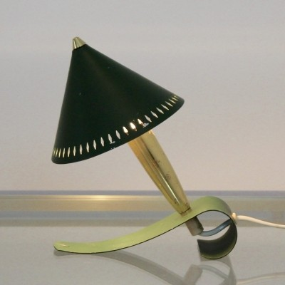 Swedish Pinocchio Desk & Wall Light in Brass & Green