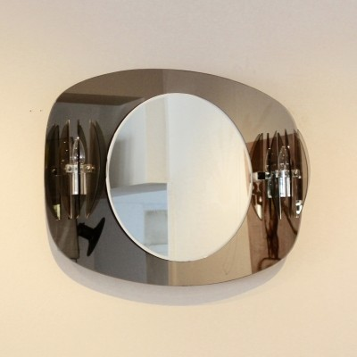 Veca Two Toned Italian Glass Mirror with Glass Sconces