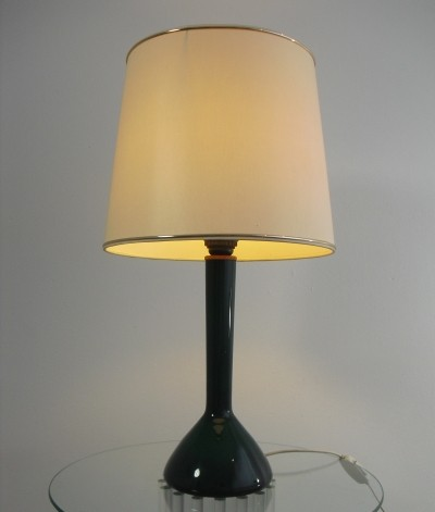 Green Glass Table Lamp by Holmegaard, 1960's