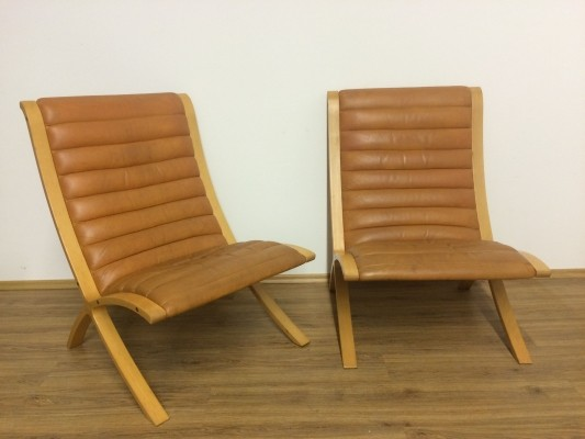 Pair of cognac leather 'Ax' chairs by Peter Hvidt & Orla Mølgaard Nielsen