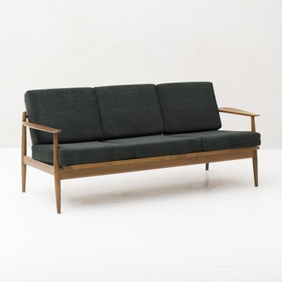 Belgian 3-seater sofa in solid beech with dark green cushionings, 1960s