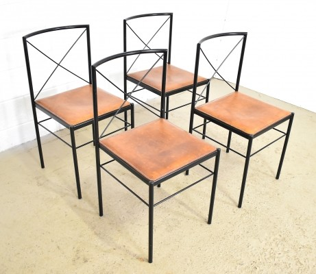 Set of 4 Arrben Italy cognac saddle leather dining chairs