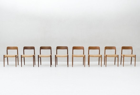 Set of 8 'Model 75' dining chairs in teak by Niels Otto Moller for J.L Moller