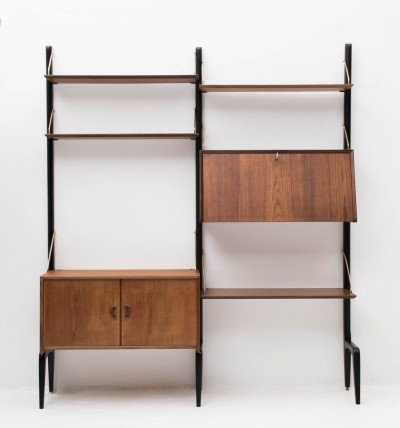 Wall unit in teak by Louis van Teeffelen for Wébé, 1950s