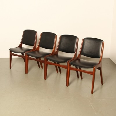 Set of 4 teak dining room chairs by Topform, 1960s