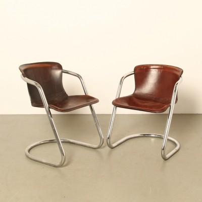Set of 2 Tubular chrome dining-room chairs by Willy Rizzo for Cidue